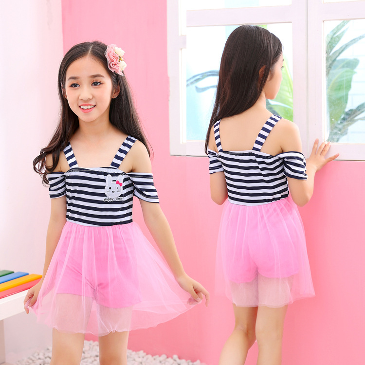 2019 New Style KID'S Swimwear GIRL'S Korean-style Dress-Children Tour Bathing Suit Princess Students Swimwear Factory