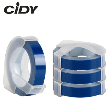 CIDY 4pcs Compatible DYMO 3D 9mm Blue Plastic Organizer Xpress Labels for Embossing Label Makers DYMO 1610/1575 motex E101