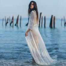 2020 אלגנטי כיסוי קופצים סקסי עמוק V צוואר קיץ חוף שמלה לבן תחרה טוניקת נשים וחוף בגד ים לחפות חלוק דה plage Q916