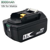Batteria ricaricabile per elettroutensili a batteria agli ioni di litio BL1860 BL1880 18V 6000mAh 8000mAh più recente per Makita BL1830 BL1840 BL1850