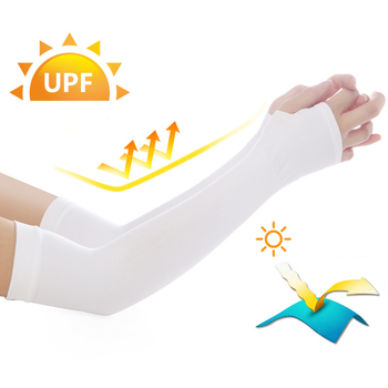 New Gloves Warmers-sleeves UV Protection Cover Arm Sleeves Ice Silk Sunscreen Sleeves Outdoor Arm Warmer Half Finger Sleeves фото