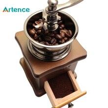 Классическая деревянная ручная кофемолка из нержавеющей стали ретро кофе специи мини-бурр мельница колесо машина