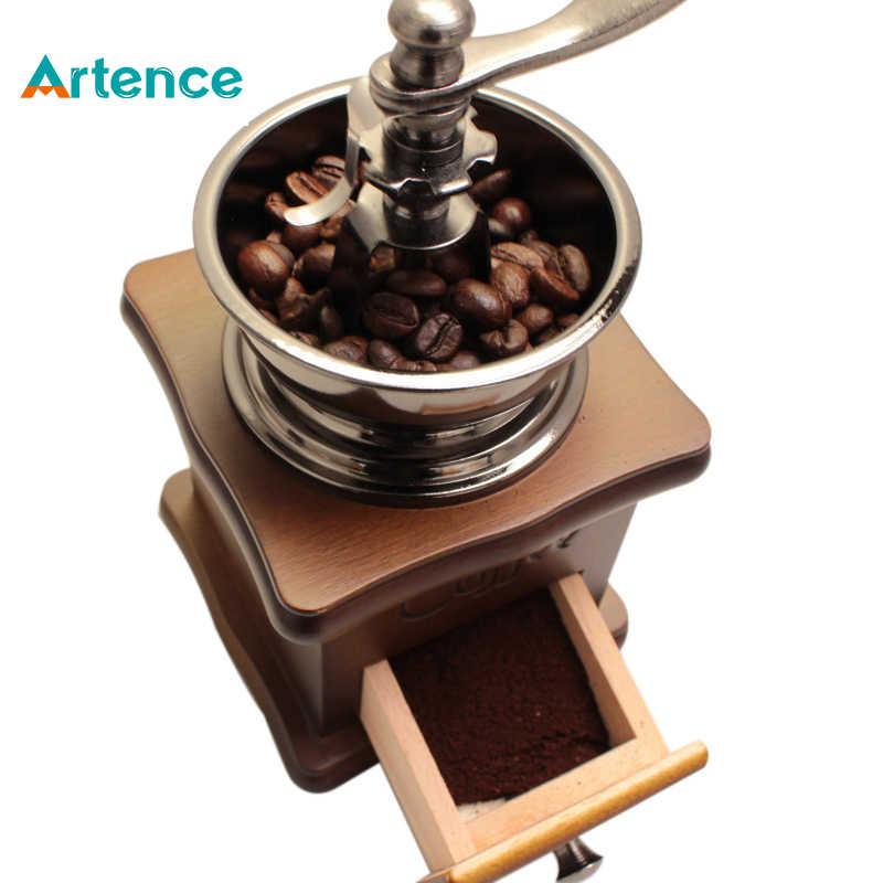 molinillo de caf/é de madera con grano de caf/é y especias molinillo de caf/é ajustable sin molino de cer/ámica marr/ón Molinillo de caf/é manual vintage Houkiper
