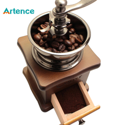 Classical Wooden Manual Coffee Grinder Stainless Steel Retro Coffee Spice Mini Burr Mill wheel machine