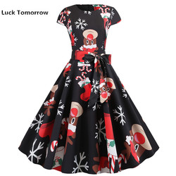 O-Neck Big Swing Vintage Christmas Dress Women Summer 50s 60s Elegant Party Dresses Casual Short Sleeve Floral Plus Size Dress 7