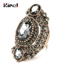 Kinel Unique Antique Gold Gray Crystal Big Ring For Women Vintage Jewelry Party Accessories Luxury Gifts 2020 New Drop Shipping kinel 2020 new boho ethnic big drop earrings antique gold color beach gray crystal bridal earrings for women vintage jewelry