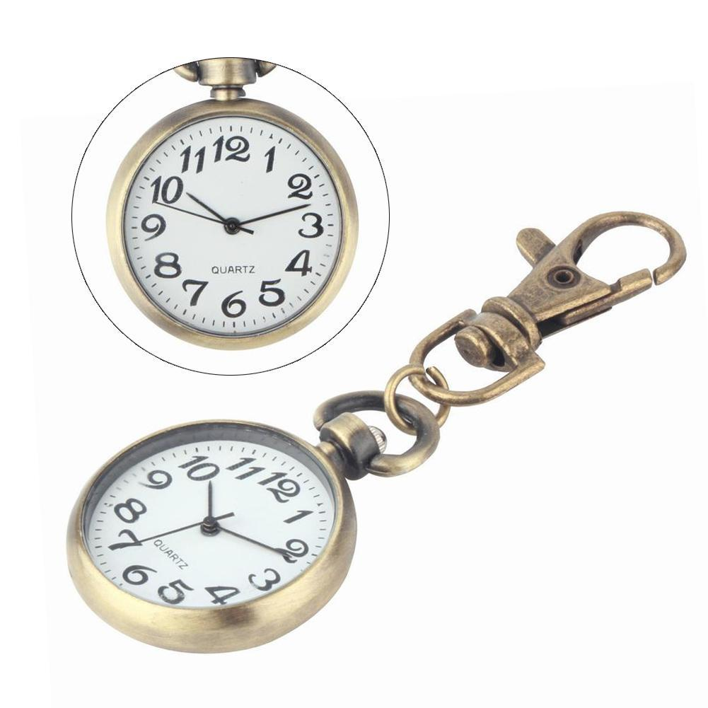 Retro Bronze Quartz Movement Keychain Keyring Watch  Watch Round Dial LC
