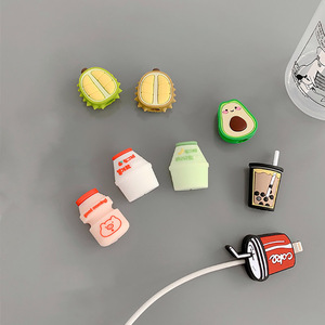 Image 5 - Funny Fruit Charging Cable Protector Cover For Mobile Phone USB Cable Data line Fracture prevention Cartoon Portable case