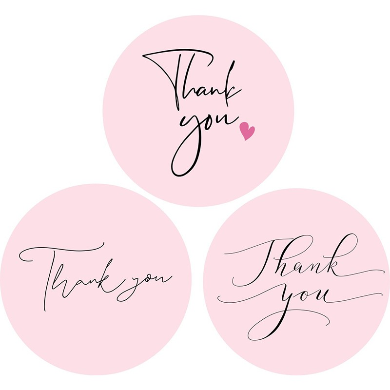 120pcs Thank You Stickers Pink Stickers for Company Giveaway Birthday Party Favors Labels Mailing Supplies Festival 5