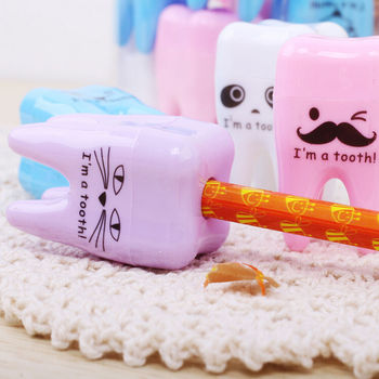 3PCS Lovely Unique Cute Tooth Teeth Pencil Sharpener School Kid's children Favorite Beautiful stationary dental clinic gift image