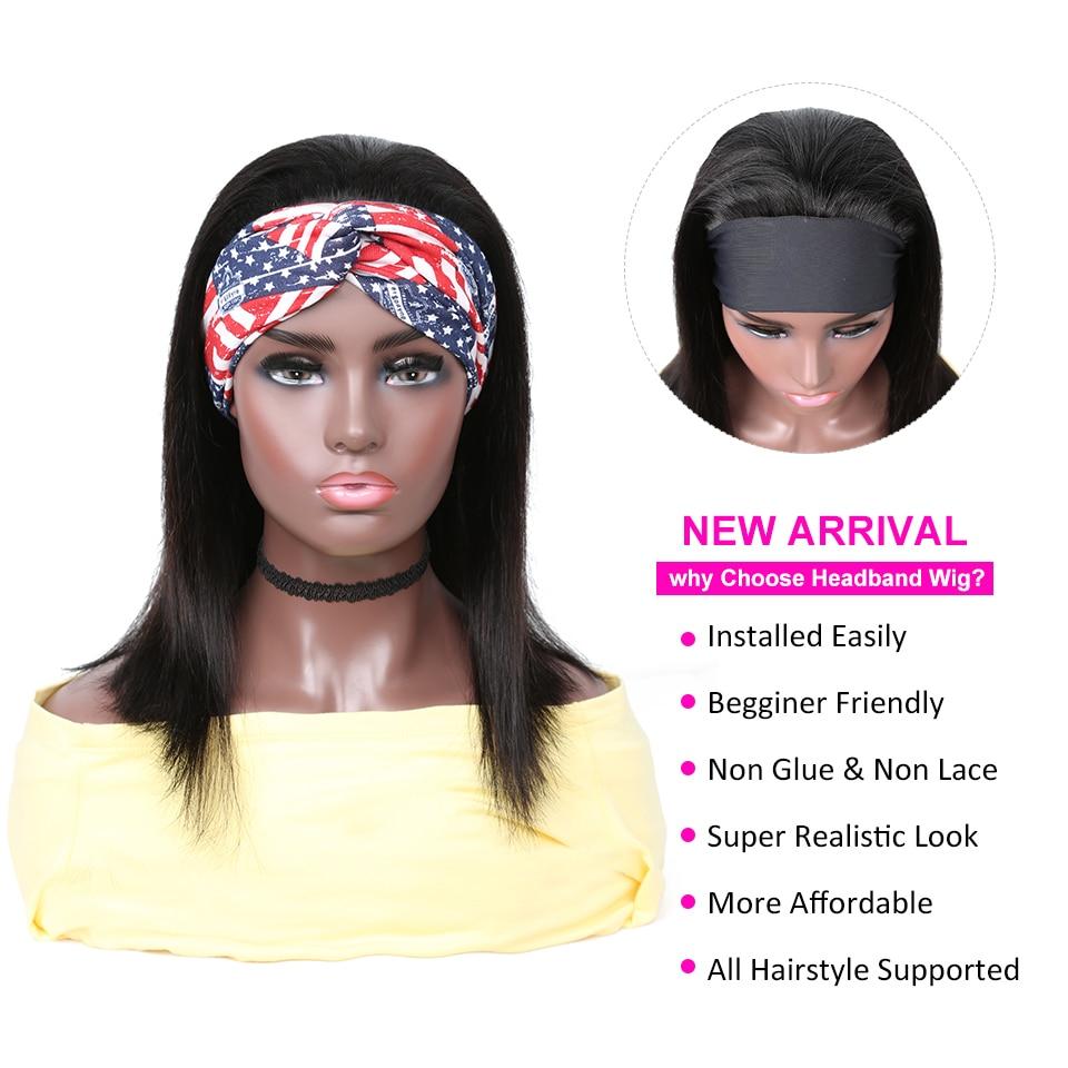 YYong Straight Short Bob Headband Wigs With Scarf 100%  Wig 8-18inch Glueless Full Machine HeadBand Wig Natural Color 3