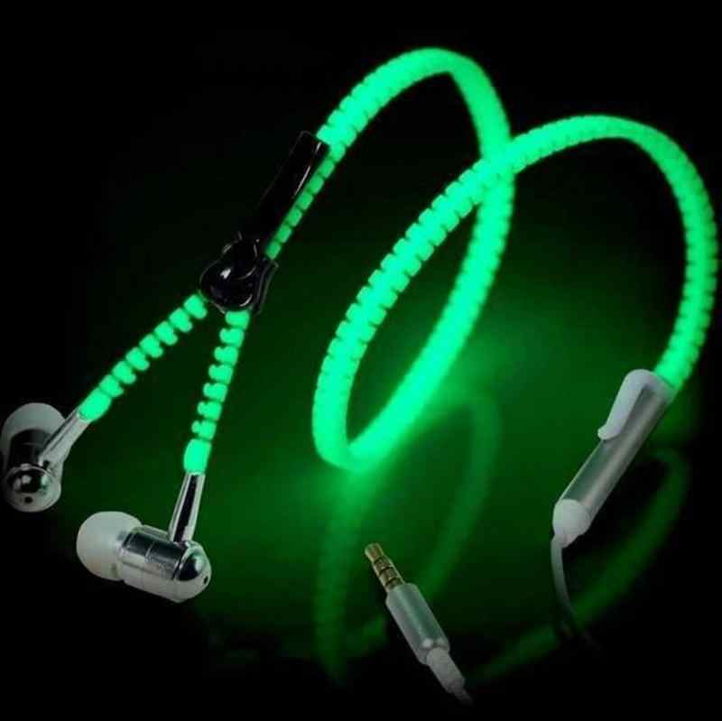 1pcs Fashion Glow In The Dark Metal Earphones Earbuds With Mic Glowing Zipper Headset Luminous Light Stereo Handsfree Earphone