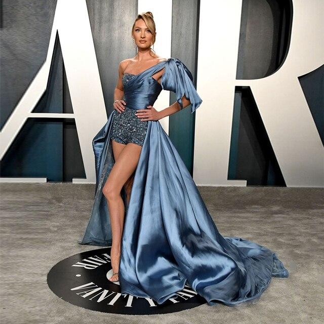 오스카 2020 Candice Swanepoel 연예인 레드 카펫 바지 높은 낮은 하나의 어깨 공식적인 가운 이브닝 드레스