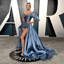 فستان سهرة رسمي من Oscars موضة 2020 بكتف واحد على طراز كانديس سوانبول بنطال سجادة أحمر للمشاهير بكتف واحد منخفض