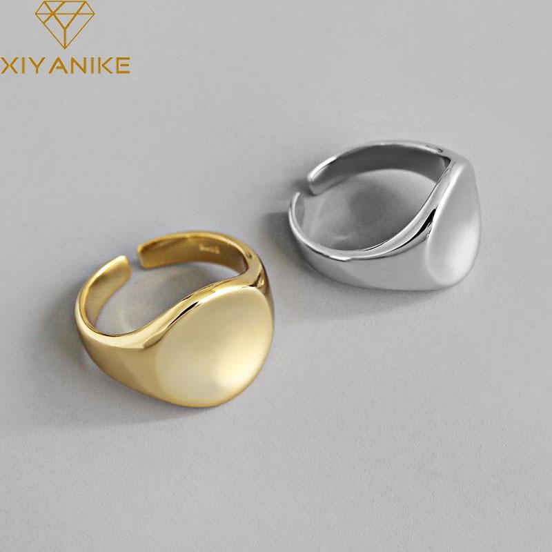 XIYANIKE 925 Sterling Silver Trendy Geometric Circular Handmade Rings Jewelry For Women Wedding Couple Size 17mm Adjustable