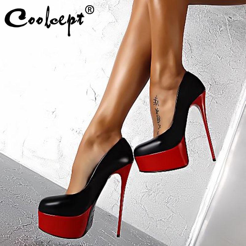 Coolcept Women Super High Heel Shoes Sexy Nightclub Thin Heels 16Cm Ladies Pumps Fashion Party Platform Shoes Women Size 34-40