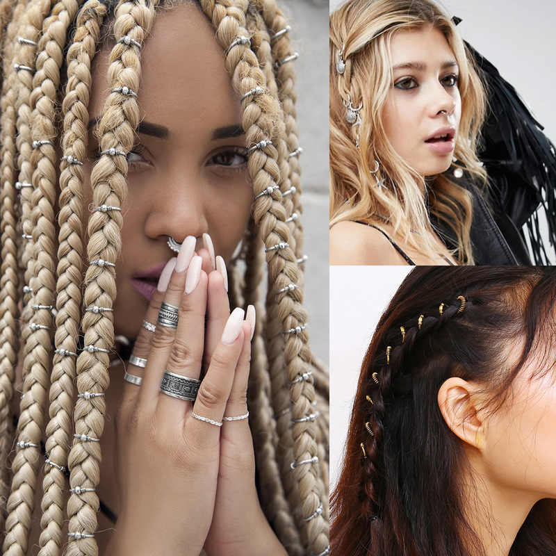 5-100pcs/lot Vintage Metal Hair Braid Rings Accessories Clips for Women and Girls Dreadlocks Beads Set Color Gold and Silver DIY