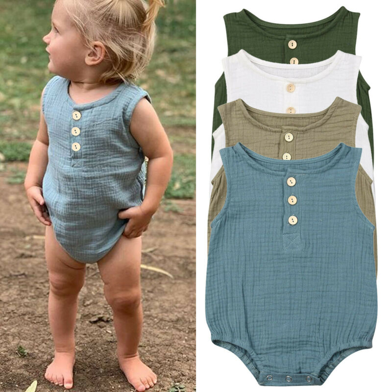 2020 Bodysuit For Newborns Baby Boy Girl Clothes Infant Baby Boydusit Buttons Cotton Line Jumpsuit Sleeveless Summer 0-24Month