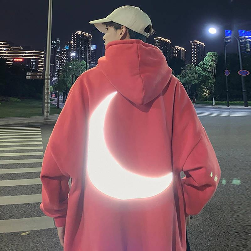 Moon Reflective Hoodies Loose Men's Sweatshirt Orange Autumn Winter Sweatshirts Men Streetwear Cool Japan Hoodies Funny Male