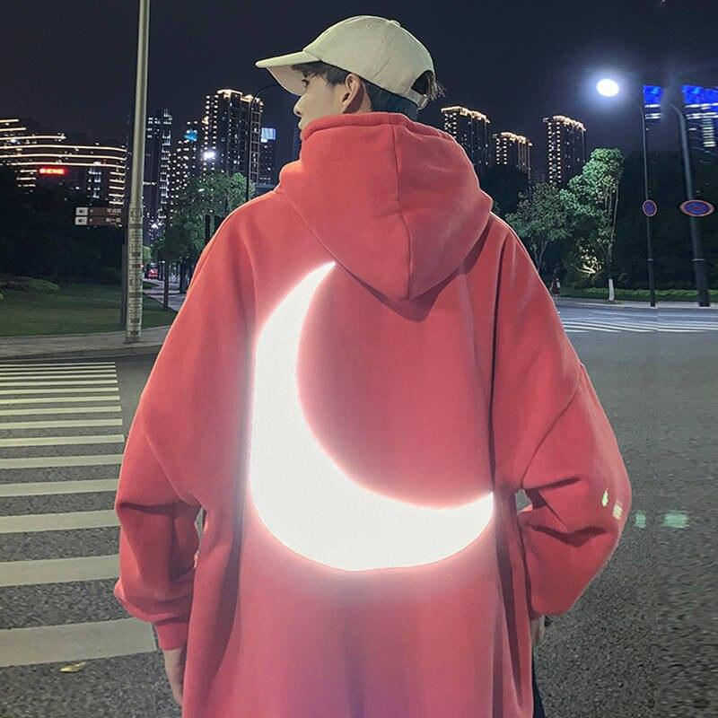 Reflexivo Hoodies Solto Moletom Masculino Laranja Outono Inverno Camisolas Homem Streetwear Legal Japão Engraçado Lua