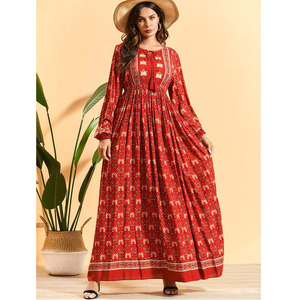 Fashion Abaya Muslim Women Maxi Dress Boho Print Long Kaftan Holiday Party Gown Turkish Caftan Islamic Clothing Abayas Dresses
