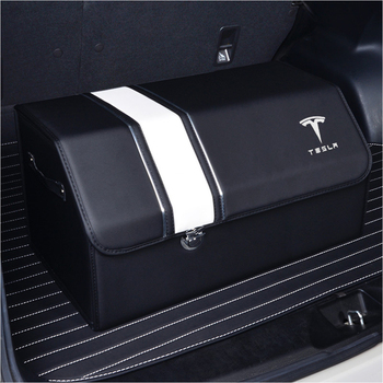Tesla Car Trunk Organizer Box Storage Bag Auto Tool Box PU Leather Folding Large Storage Stowing Tidying For Tesla Medol 3 S Y X hot multifunction car storage box trunk bag vehicle tool box tools organizer bag for emergency box