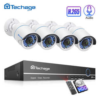 Techage H.265 4CH 1080P POE NVR Kit CCTV Security System 2.0MP Audio Microphone IP Camera IR Outdoor Video Surveillance Set - DISCOUNT ITEM  23% OFF All Category