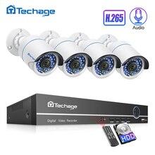 Techage H.265 4CH 1080P POE NVR Kit di Sicurezza del CCTV Sistema di 2.0MP Audio Microfono IP Della Macchina Fotografica di IR di Video Sorveglianza Esterna set