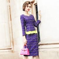 Designer Purple Ruffles Dress Women Autumn Business Party Office Bodycon Dress Elegant Fake Two Pieces Slim Ladies Dresses S XXL