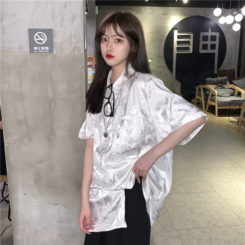 2020 Summer New Harajuku Casual Loose Blouse Shirt Vintage Chinese Dragon Printed Cool Girl Hip Hop Lady Blouse Shirt Female