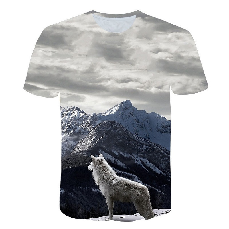 T-Shirt Tops Short-Sleeve Tee Men Snow-Wolf-Pattern 3d Print Breathable Casual Fashion