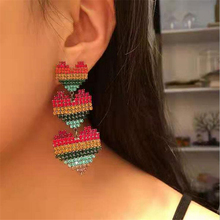 new colorful crystal heart stud earrings for women personality prevent allergy creative big punk jewelry gifts