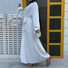 Cardigan Kaftan Long-Dress Muslim Fashion Ramadan Dubai-Robe Jilbab Islamic Women Lady