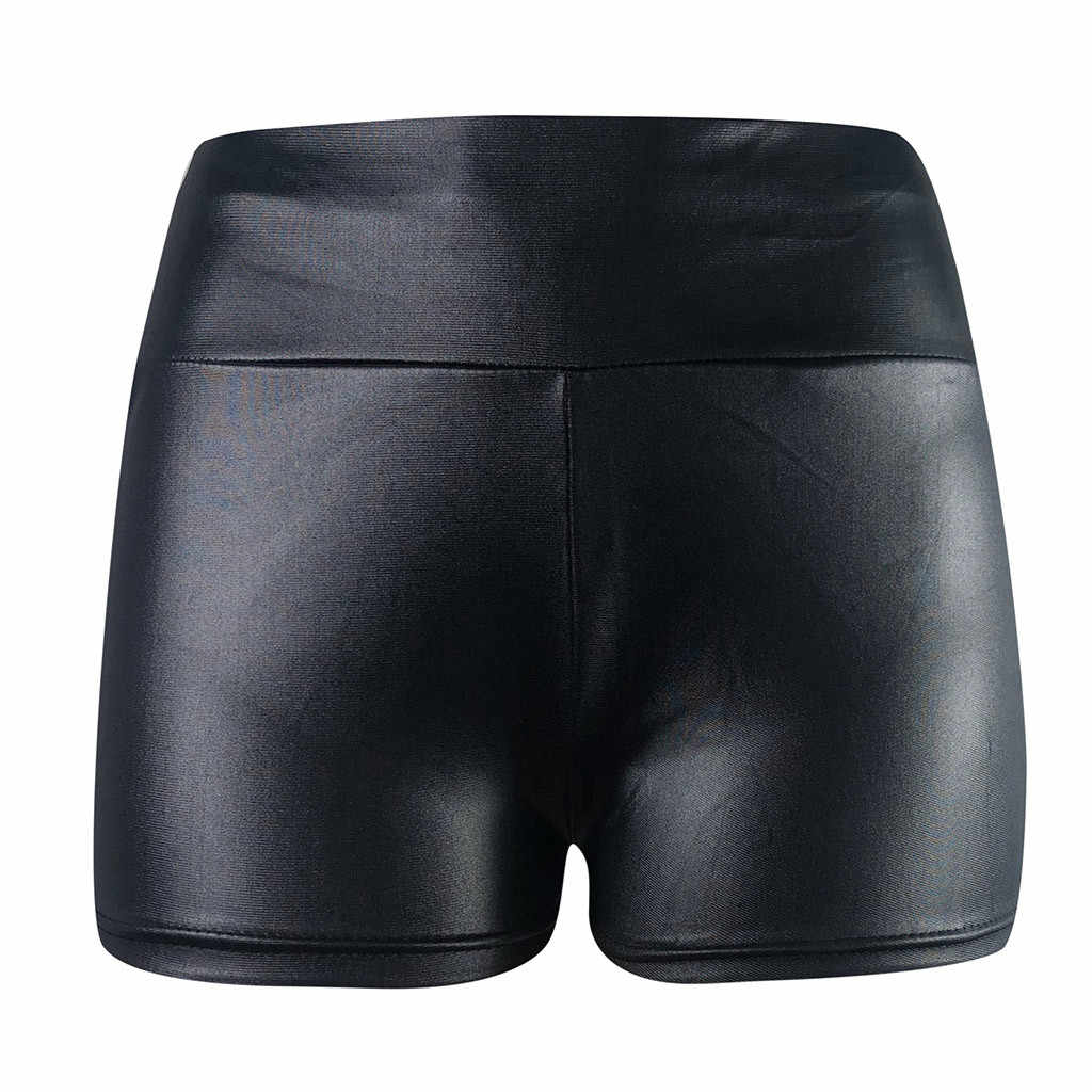 #40 hoge Taille Faux Lederen Broek Pannen Voor Vrouwen Zomer Booty Shorts Sexy Black Shorts Hoge Taille Slipje Korte feminino