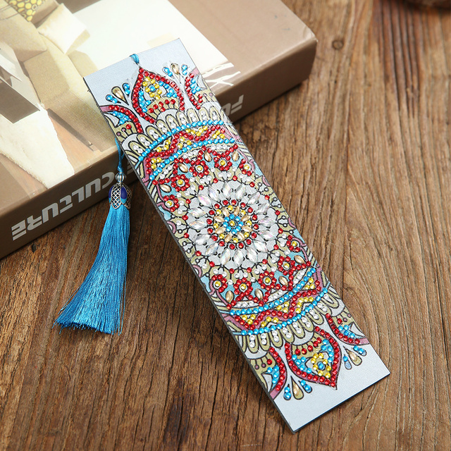 5D Floral DIY Diamond Painting Leather Bookmark Tassel Bookmarks Special Shaped Diamond Embroidery DIY Wedding Gifts