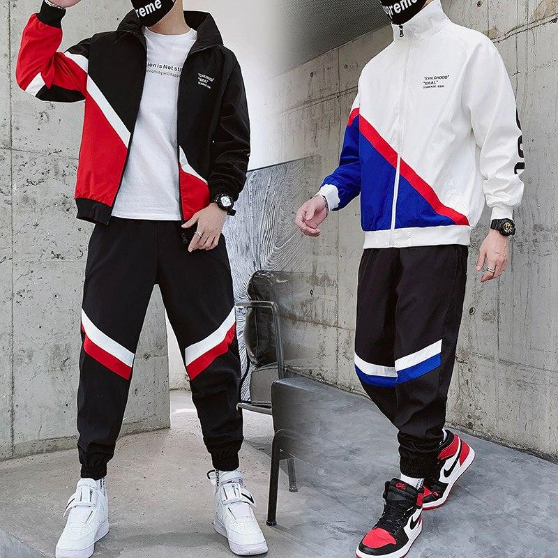 Two Piece Set Men's New Spring Autumn Fashion Plain Polyester Tracksuit Hip Hop Men Jogging Homme Tracksuit Jacket Winter HH50TZ