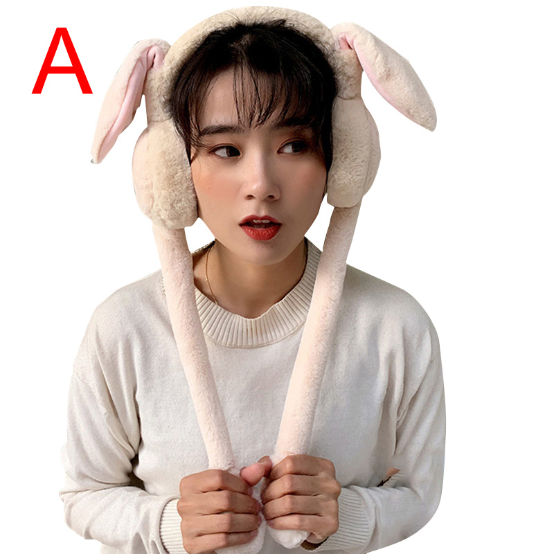 Cute Women Earmuffs Warm Can Move Airbags Cap Plush Dance Rabbit Ear Autumn Winter HSJ88