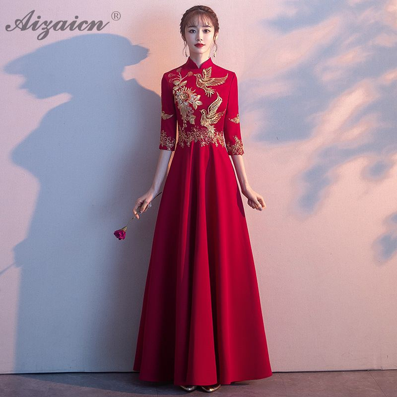 2019 Sequin Embroidery Cheongsam Red Long Dresses Qi Pao Women Traditional Chinese Evening Dress Qipao Promotion Robe Orientale