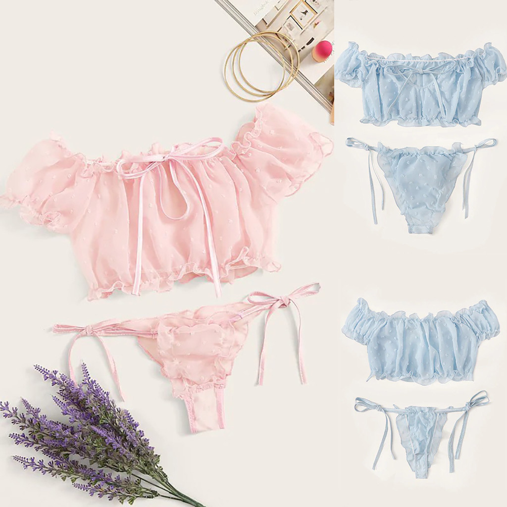 Women Lingerie Corset Mesh Underwire Racy Muslin Sleepwear Underwear Tops+Briefs Female Pajama Sets  2020 FJSL