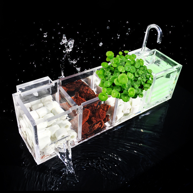 Aquarium External Filter Box Fish Tank Filter Box Without Water Pump Increase Oxygen Water Filter Mutifunctional Acrylic FA016