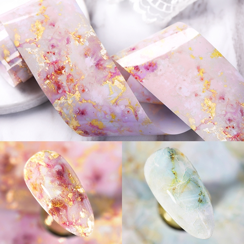 1 Box 4*125cm Marble Series Nail Foils Pink Blue Foils Transfer Sticker Paper Bright Marble  Nail Art DIY Design