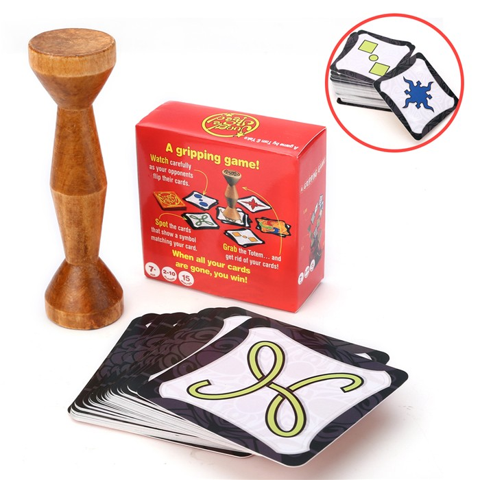 New Totem Express English Speed Board Game Jungle Token Run Fast Pair Forest For Party Fun Cards With Wood