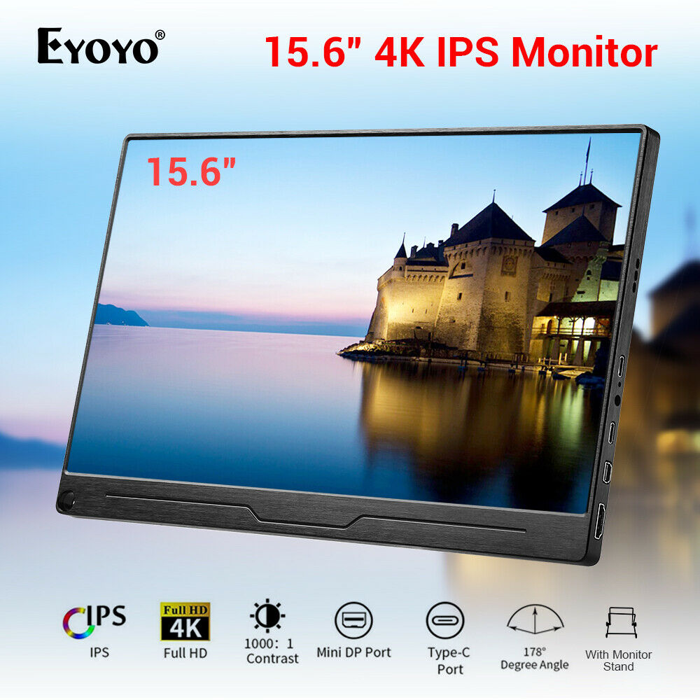 Eyoyo 15.6 Inch 4K Monitor HDR 3840X2160 IPS HDMI Type-C Screen Display Portable Video Gaming Monitor PS4 Raspberry PC Computer