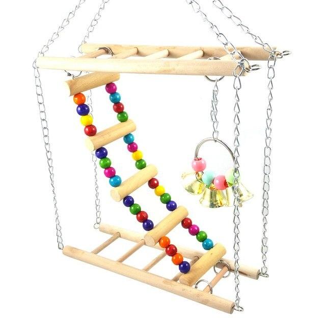 Bird Colorful Wood Swing Climbing Ladder Flexible Rainbow Bridge for Parrot Parakeet Hamster Budgie Cockatiel Cage 3