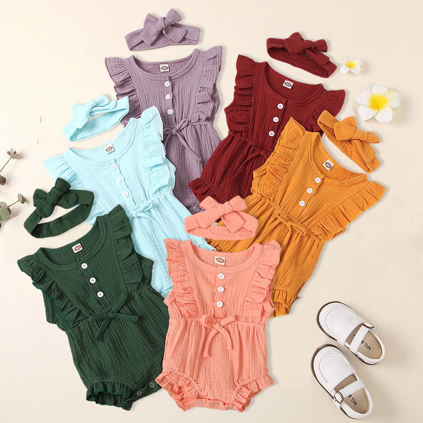 יילוד קיץ תינוק בנות Romper + סרט כותנה פשתן קפלי שרוולים תינוקות Rompers יילוד בגדי תלבושות סרבל
