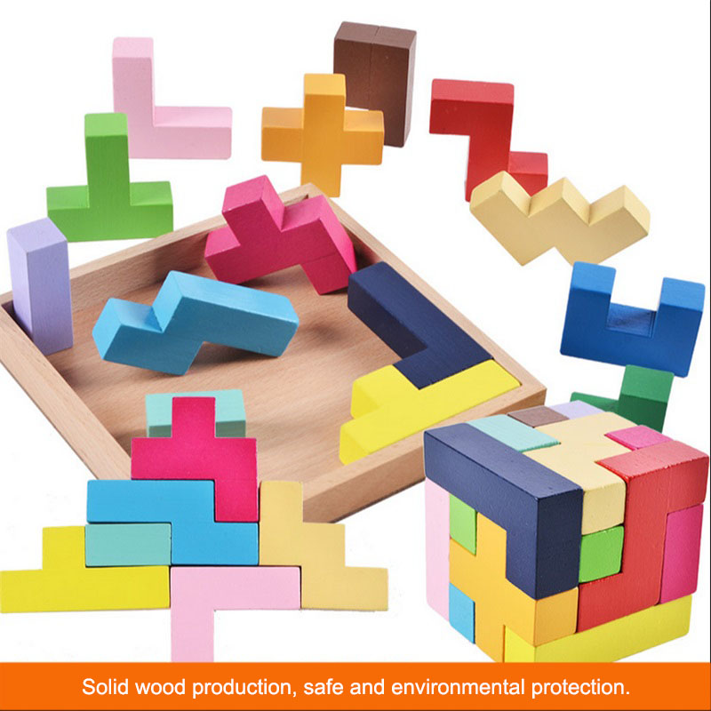 Wood Tangram Brain Teaser IQ Cube Puzzle Wooden 3D Tetris Game Educational Jigsaw Puzzle Toys Baby Children Toy Chrismas Gift
