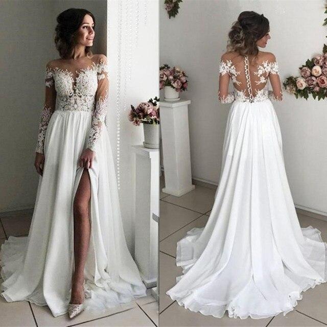 Lace Slit Wedding Dress 2020 Long Sleeves A-line Split Chiffon Dubai Arabic Simple Boho Long Vestido De Noiva Bridal Dresses 1