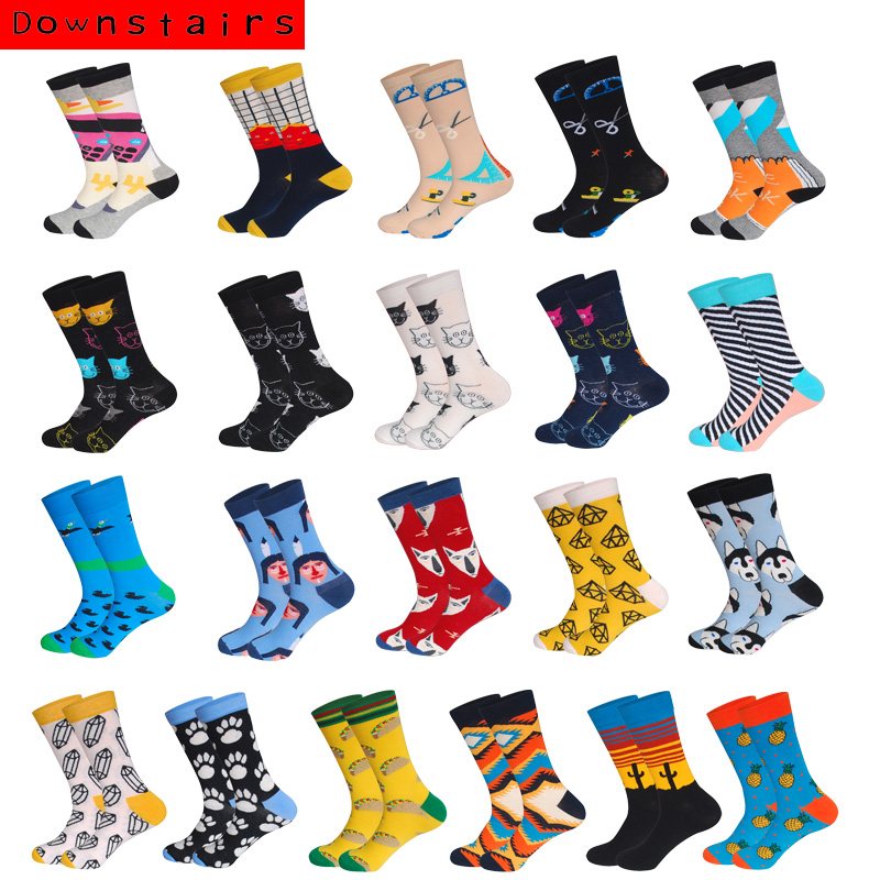 Downstairs Unisex Happy Socks For Men Women Lovers Gifts Newly Cat Wolf  Designer Cotton Casual Socks Funny Calcetines Meias