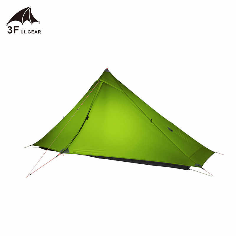 3F UL เกียร์ Lanshan 1 Pro เต็นท์ Oudoor 1 คน Ultralight Camping เต็นท์ 3 ฤดู Professional 20D Silnylon Rodless เต็นท์