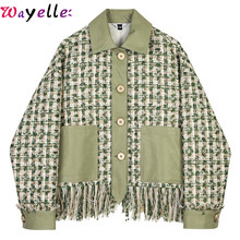 Autumn Winter Women Jacket Coat Loose Fit Green Plaid Tweed Tassels Elegant Jacket New Lapel Long Sleeve Women Coat Fashion(China)